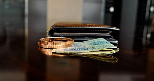 peníze před peněženkou